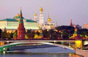 Vista del Kremlin de Moscú en el atardecer. Rusia